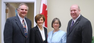 Photo (l to r): Chris George, Cindy Paskey and Debbie Bruce of the CAI, with MP Dean Allison, seen here in the MP's Ottawa office in December 2010.